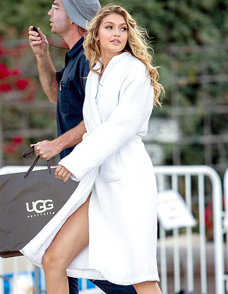 Gigi Hadid seen on the set of a Calvin Harris music video in Malibu, California.