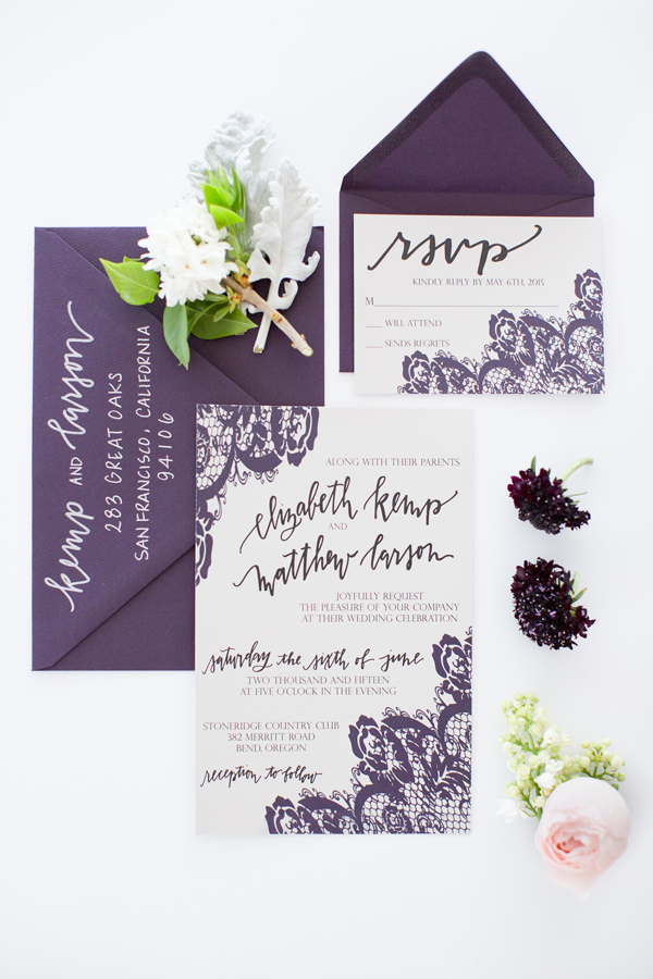 purple wedding invitations - photo by Amy and Jordan Photography http://ruffledblog.com/modern-silver-and-purple-wedding-editorial