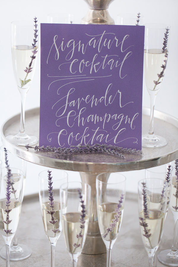 champagne drink tower - photo by Amy and Jordan Photography http://ruffledblog.com/modern-silver-and-purple-wedding-editorial