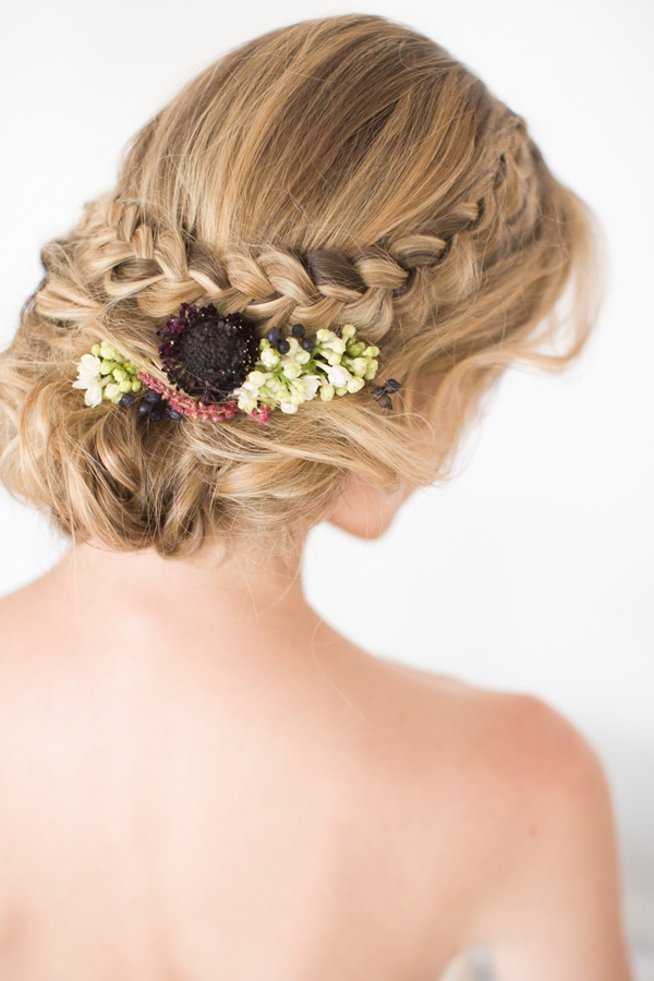 braided wedding hair - photo by Amy and Jordan Photography http://ruffledblog.com/modern-silver-and-purple-wedding-editorial