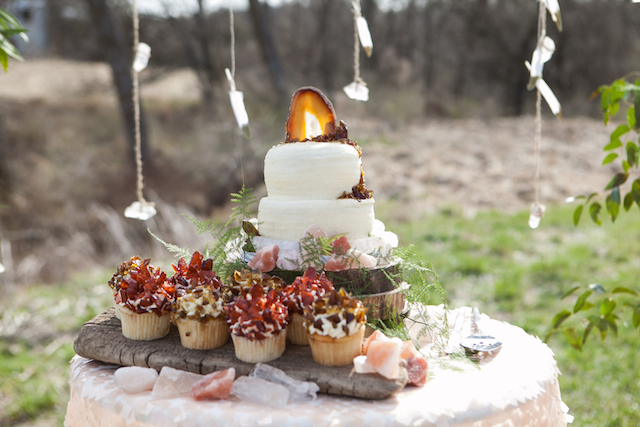 Geode cake topper | Cornerstone Photography| see more on: http://burnettsboards.com/2015/06/geodes-feathers-airstream/