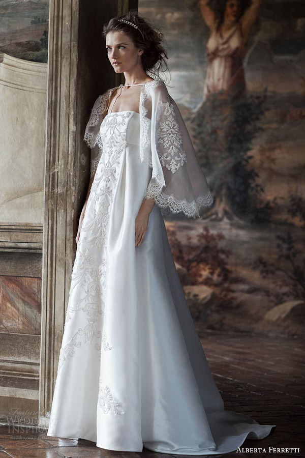 alberta ferretti bridal forever 2016 tiche strapless empire waist wedding dress embroidery lace cape capelet