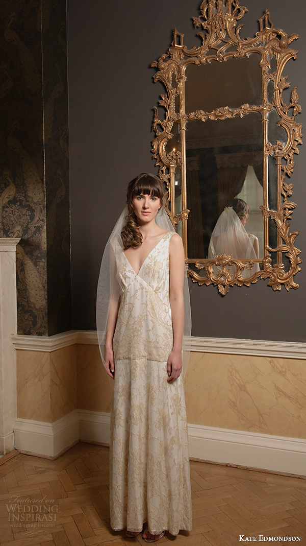kate edmondson 2015 2016 couture bridal v neck gold embroidery vintage column wedding dress
