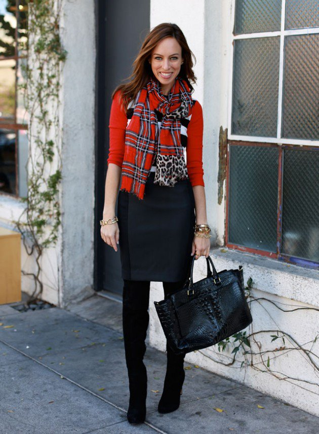 Sydne-Style-what-to-wear-with-a-pencil-skirt-how-to-tie-a-scarf-plaid-leopard-mixed-print-trend-fall-2013-outfit-ideas2-630x856