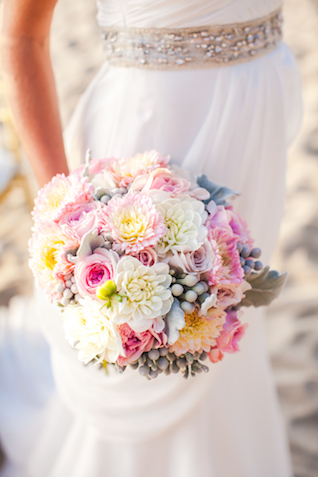 Colorful, textural bridal bouquet | Denise Lin Photography | see more on: http://burnettsboards.com/2015/06/beach-sweetheart-table/