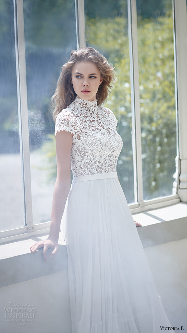 victoria f 2016 bridal high neck cap sleeves lace top with ribbon belt a line wedding dress