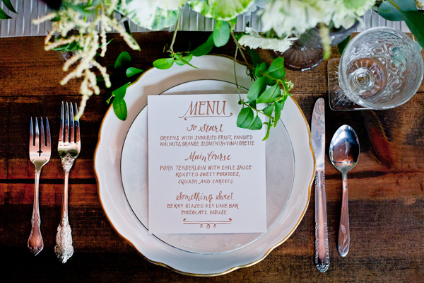 wedding place setting - photo by Mirabel Photography http://ruffledblog.com/neo-vintage-industrial-wedding