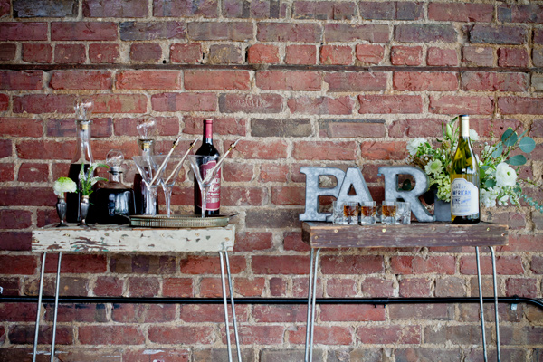 drink bar - photo by Mirabel Photography http://ruffledblog.com/neo-vintage-industrial-wedding
