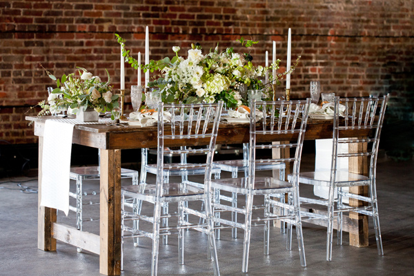 industrial tablescape - photo by Mirabel Photography http://ruffledblog.com/neo-vintage-industrial-wedding