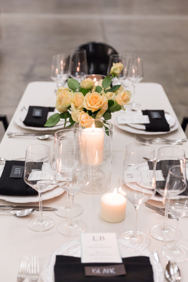 Black, white, and peach tablescape | Cavin Elizabeth Photography | see more on: http://burnettsboards.com/2015/06/modern-wedding-black-white-seafoam/