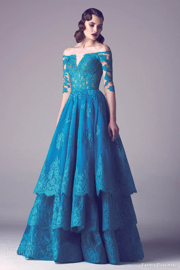 fadwa baalbaki spring 2015 off shoulder lace couture gown tiered lace skirt split bodice