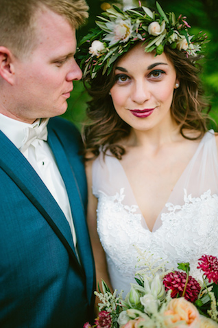 Berry colored lipstick and flower crown | Elyse Alexandria Photography | see more on: http://burnettsboards.com/2015/06/wedding-redo/