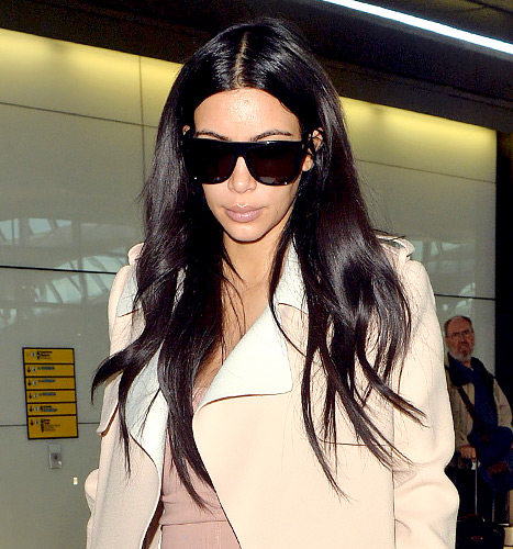Kim Kardashian West arriving at Heathrow Airport in London.