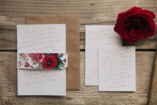 Red floral wedding invitations - customizable wedding invites from https://www.basicinvite.com/wedding/wedding-invitations.html