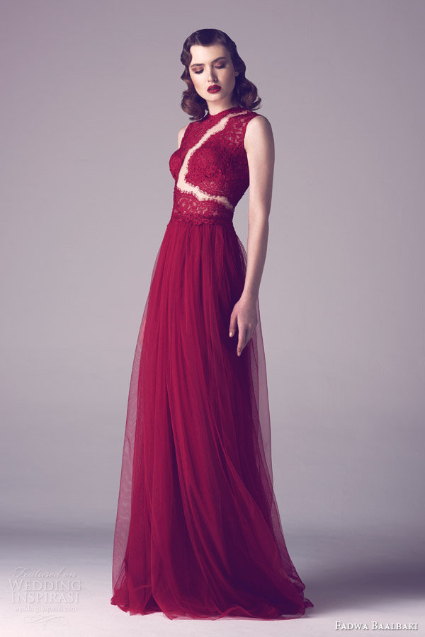 fadwa baalbaki spring 2015 couture sleeveless red lace bodice gown
