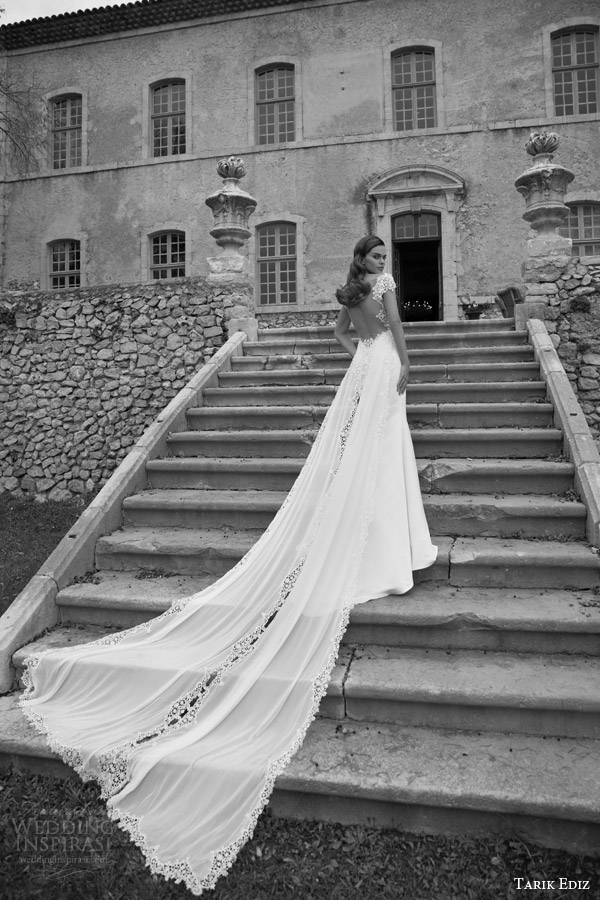 tarik ediz bridal 2015 turmalin cap sleeve wedding dress back view train