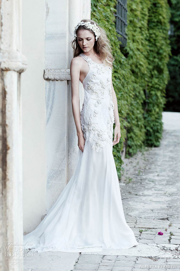 alberta ferretti bridal spring 2016 moire sleeveless wedding dress lace floral applique bodice