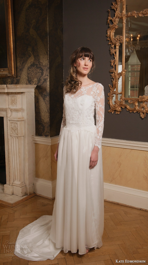 kate edmondson 2015 2016 couture bridal bateau neckline illusion lace long sleeves vintage column wedding dress