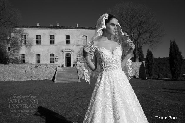 tarik ediz white 2015 elmas off shoulder half sleeve lace wedding dress
