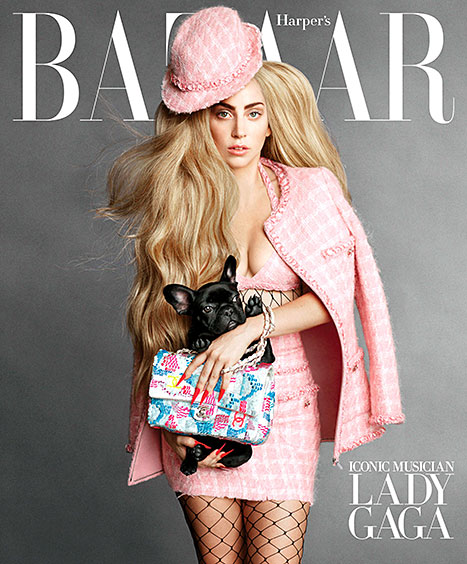 Lady Gaga and her dog Miss Asia cover Harper's Bazaar's September 2014 issue.