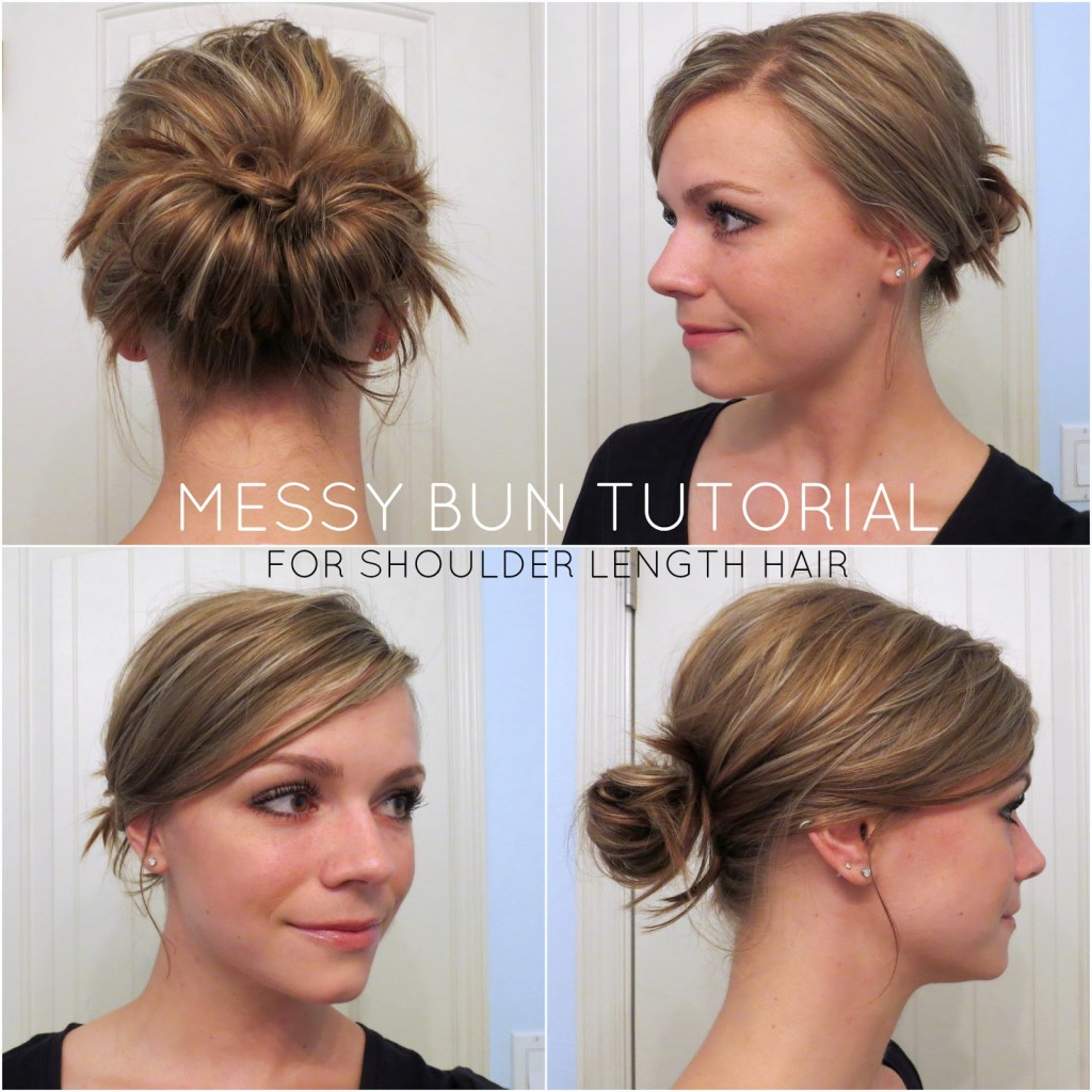 Simple Messy Bun For Medium Long Hair