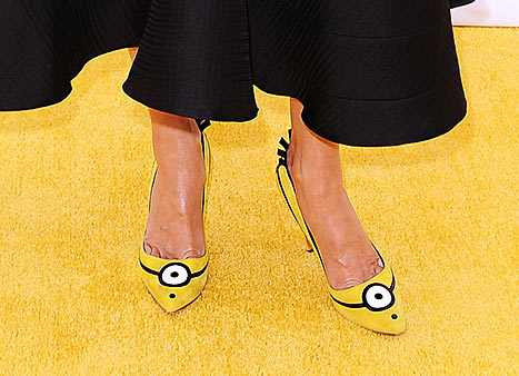 Sandra Bullock wears Minion pumps to film's premiere on June 27.