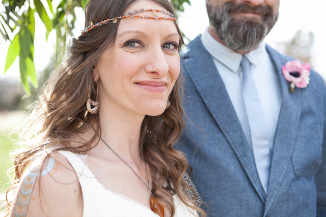 Hippy bride | Cornerstone Photography| see more on: http://burnettsboards.com/2015/06/geodes-feathers-airstream/