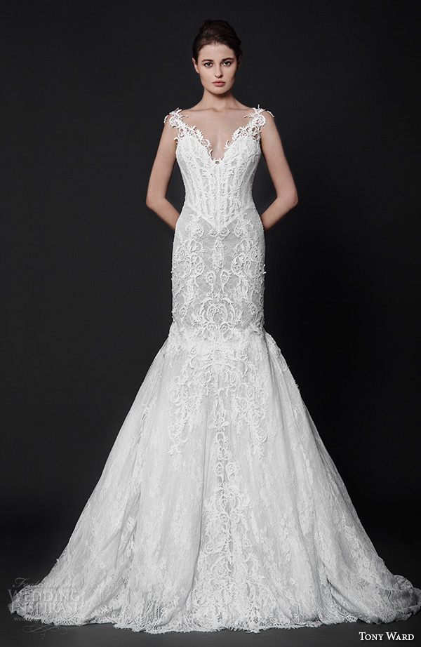 tony ward 2016 bridal v neckline lace cutout strap filigree embroidery fit to flare trumpet mermaid wedding dress attraction