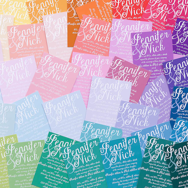 Rainbow wedding invitations - customizable wedding invites from https://www.basicinvite.com/wedding/wedding-invitations.html