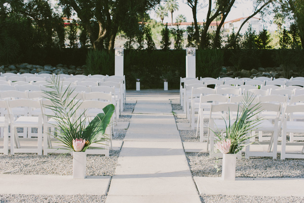 ceremony setup - photo by Laura Goldenberger http://ruffledblog.com/palm-springs-wedding-for-a-creative-bride-and-groom