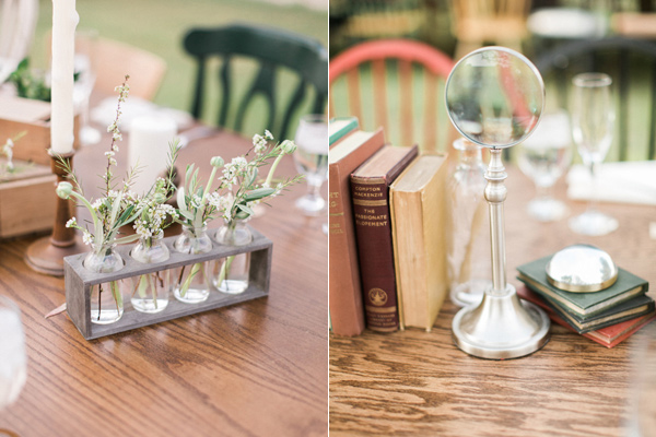 science inspired centerpieces - photo by Rachel Solomon Photography http://ruffledblog.com/handcrafted-mismatched-backyard-wedding