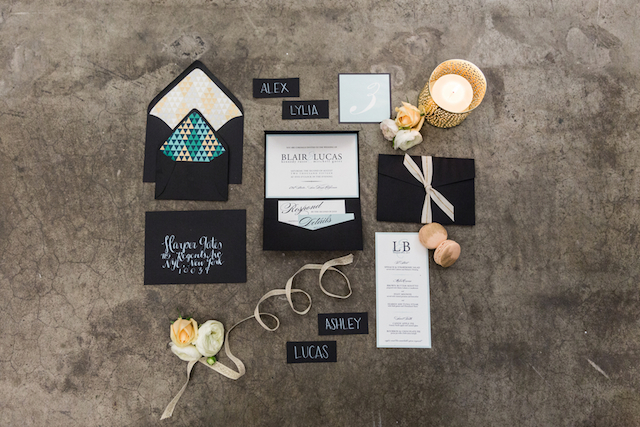Black, white and seafoam wedding invitations | Cavin Elizabeth Photography | see more on: http://burnettsboards.com/2015/06/modern-wedding-black-white-seafoam/