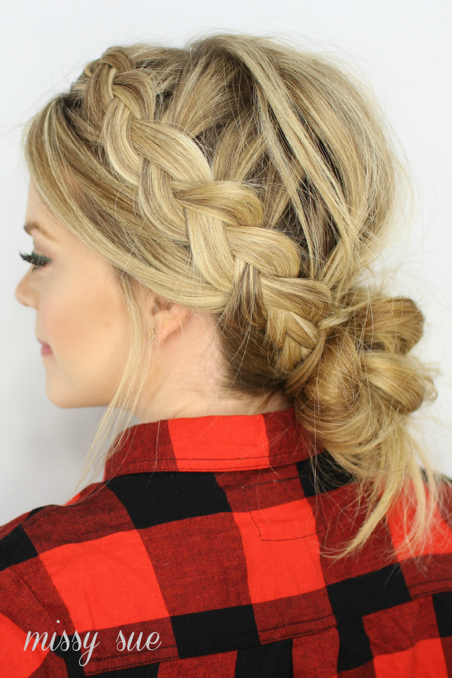 Dutch Braids Combined With A Low Messy Bun