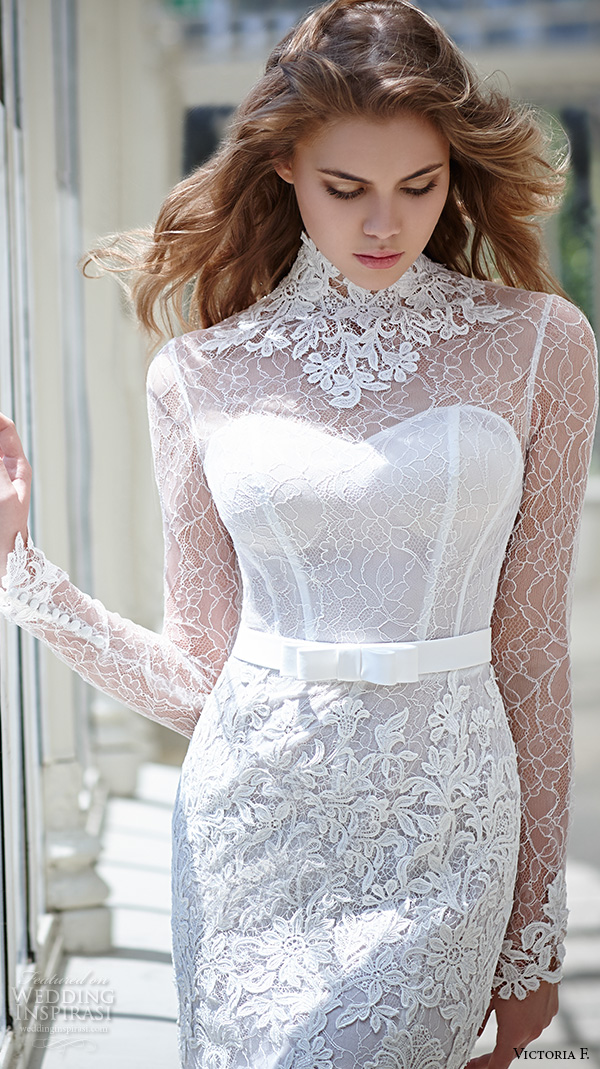 victoria f 2016 bridal high neck lace sheer long sleeves sheath wedding dress closeup