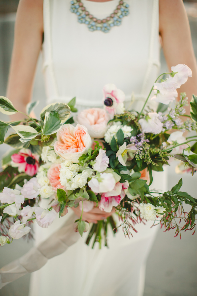 Poppy and peony bridal bouquet | K Robinson Photography | see more on: http://burnettsboards.com/2015/06/urban-boho-bridals/