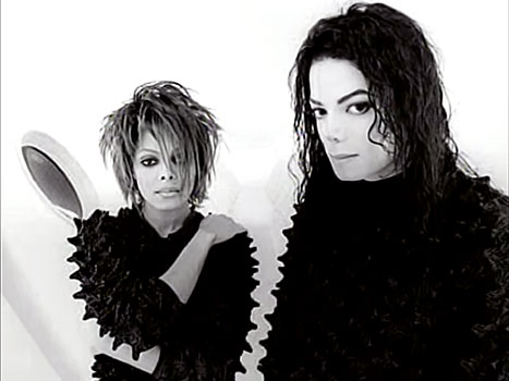 Janet Jackson and her brother Michael work their spikes on the set of their
