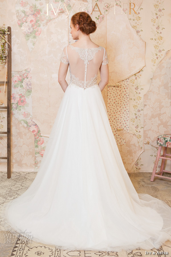 ivy and aster spring 2016 bridal square neckline bateau boat necklne short sleeves a line wedding dress back view