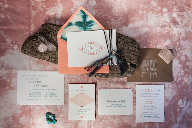 Hippy wedding invitations | Cornerstone Photography| see more on: http://burnettsboards.com/2015/06/geodes-feathers-airstream/