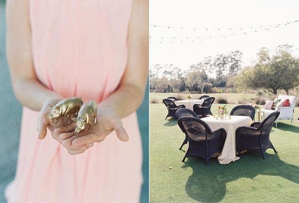 gold figurines - photo by Virgil Bunao http://ruffledblog.com/charleston-wedding-with-loads-of-bright-colors