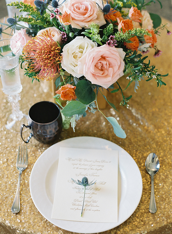 gold sequin tablescape - photo by Virgil Bunao http://ruffledblog.com/charleston-wedding-with-loads-of-bright-colors