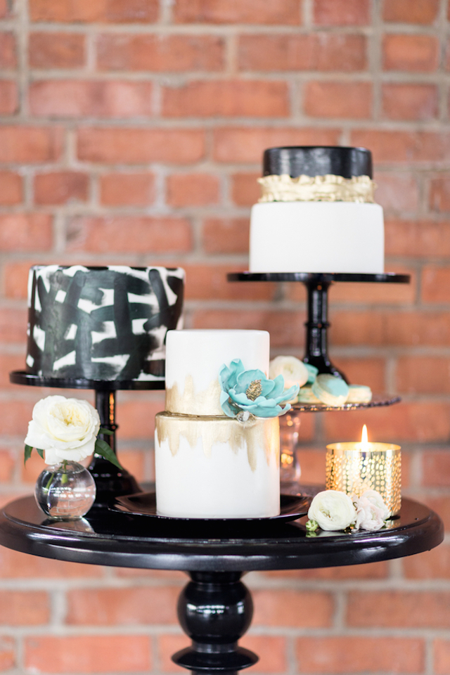 Trio of modern wedding cakes | Cavin Elizabeth Photography | see more on: http://burnettsboards.com/2015/06/modern-wedding-black-white-seafoam/