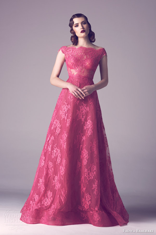 fadwa baalbaki couture spring 2015 rose colored lace cap sleeve wedding dress