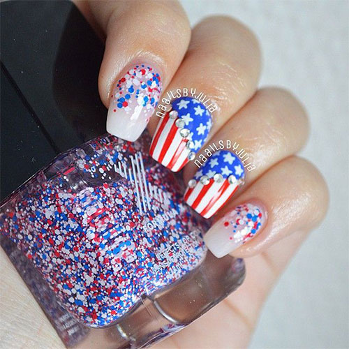 12 American Flag Nail Art Designs Ideas Trends Stickers 2015 4th Of July Nails 5 12+ American Flag Nail Art Designs, Ideas, Trends & Stickers 2015 | 4th Of July Nails