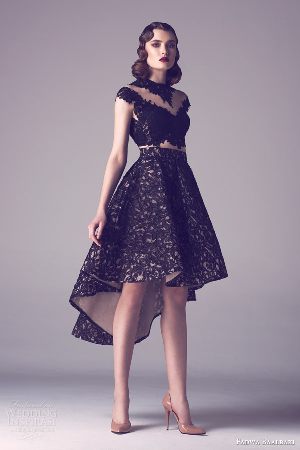 little black dress by fadwa baalbaki spring 20145 couture collection lace dress asymmetric hem