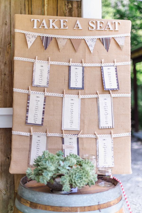 burlap seating chart - photo by Courtney Horwood Photography http://ruffledblog.com/modern-barn-wedding-in-new-zealand