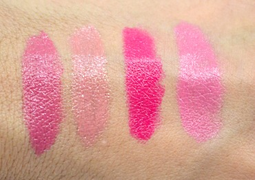 Clinique Pop Lip Color + Primer swatches - Plum, Nude, Punch and Sweet Pop