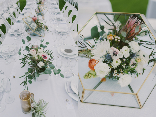 geometric centerpiece - photo by Laura Goldenberger http://ruffledblog.com/palm-springs-wedding-for-a-creative-bride-and-groom
