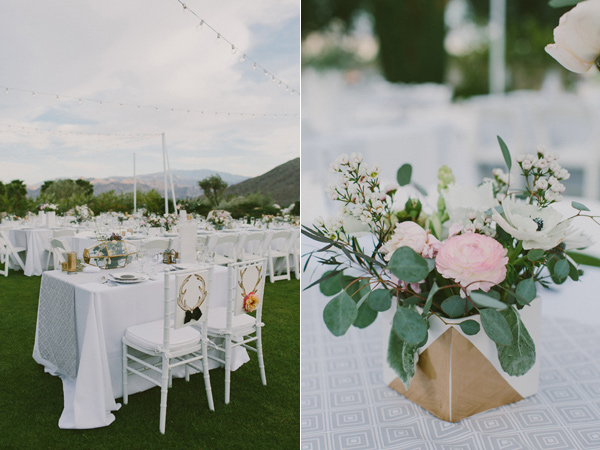gold centerpiece - photo by Laura Goldenberger http://ruffledblog.com/palm-springs-wedding-for-a-creative-bride-and-groom