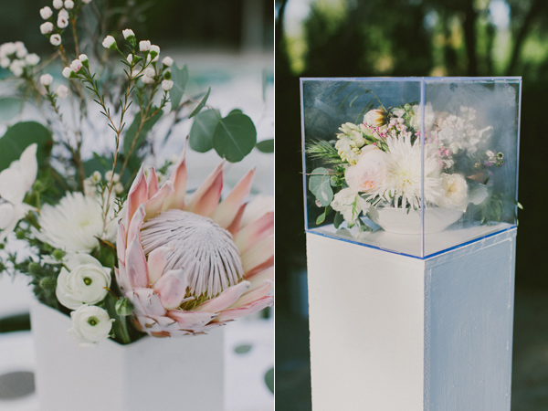 protea centerpiece - photo by Laura Goldenberger http://ruffledblog.com/palm-springs-wedding-for-a-creative-bride-and-groom