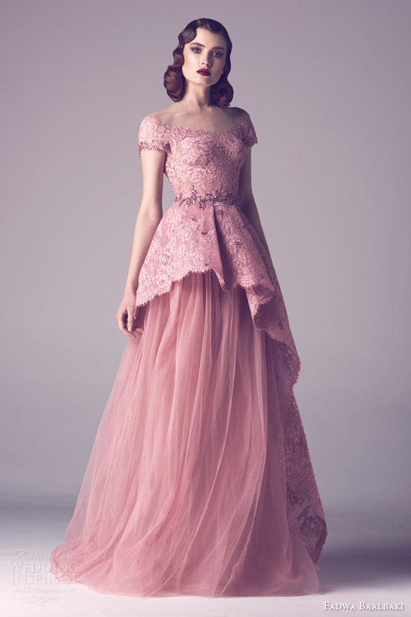 fadwa baalbaki spring 2015 couture cap sleeve pink blush lace peplum bodice gown